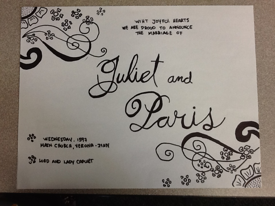Romeo And Juliet Wedding Invitations: English9 Projects